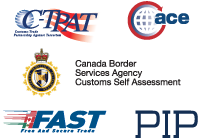 Security logos - CTPAT, ACE, Canada Border Services Agency Customs Self Assessment, FAST, PIP